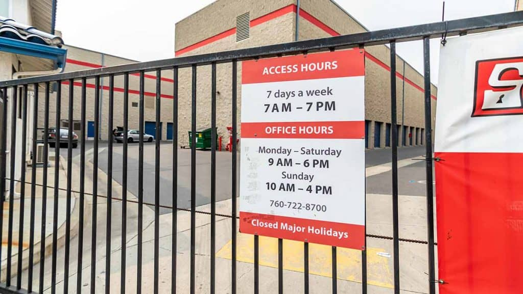 sps oceanside storage facility hours